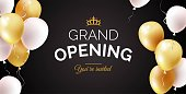 Grand opening black banner with golden and white balloons. Vector illustration