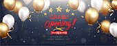 Vector Illustration of Grand opening card design with gold ribbon and confetti  eps10