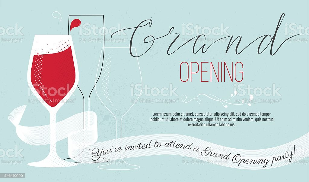 Grand opening card with wine glasses - Illustration vectorielle