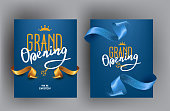 istock Grand opening cards with sparkling cut ribbons. Vector illustration 1239830667