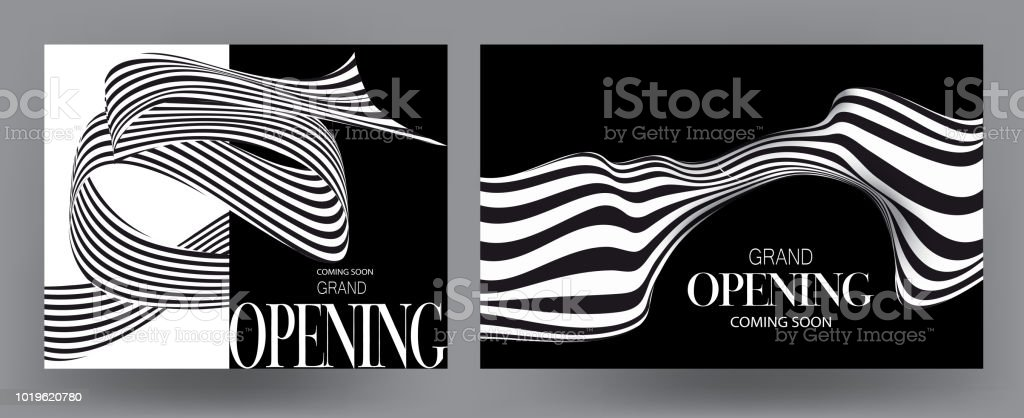 Grand opening cards with striped monochrome ribbons. Vector illustration vector art illustration