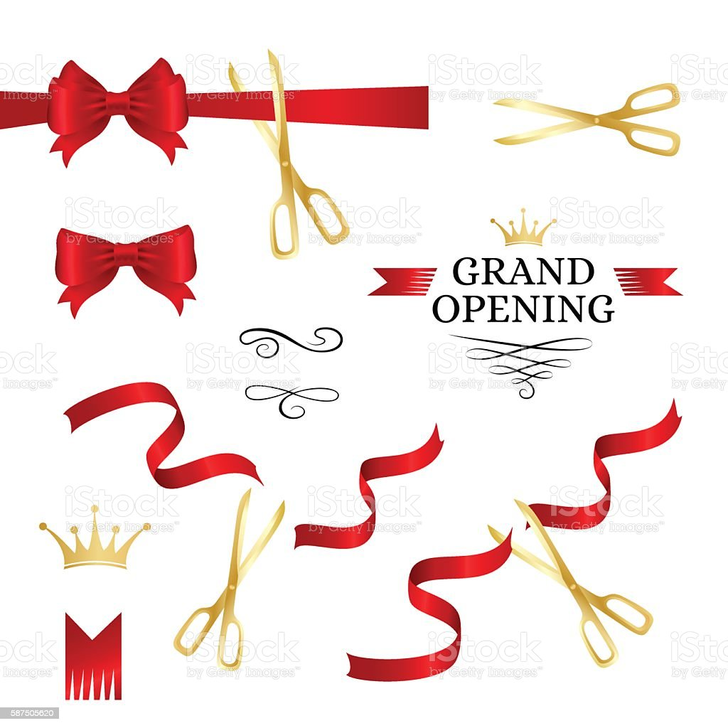 Grand opening decoration elements vector art illustration