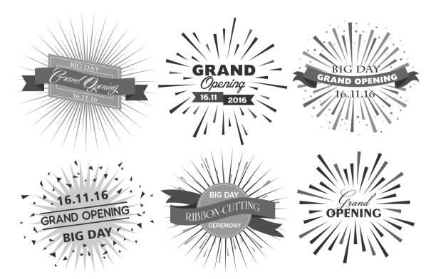 ilustraciones, imágenes clip art, dibujos animados e iconos de stock de grand opening design vector illustration - gran inauguración