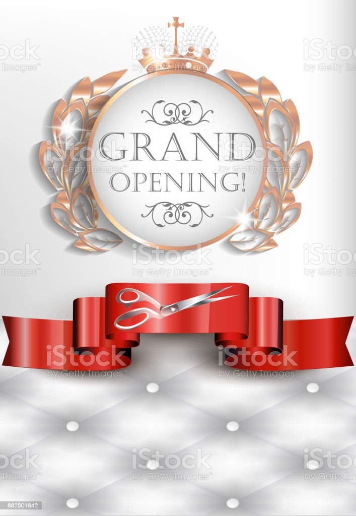Grand Opening Elegante Vintage Karte Mit Lederstruktur Rotes Band ...