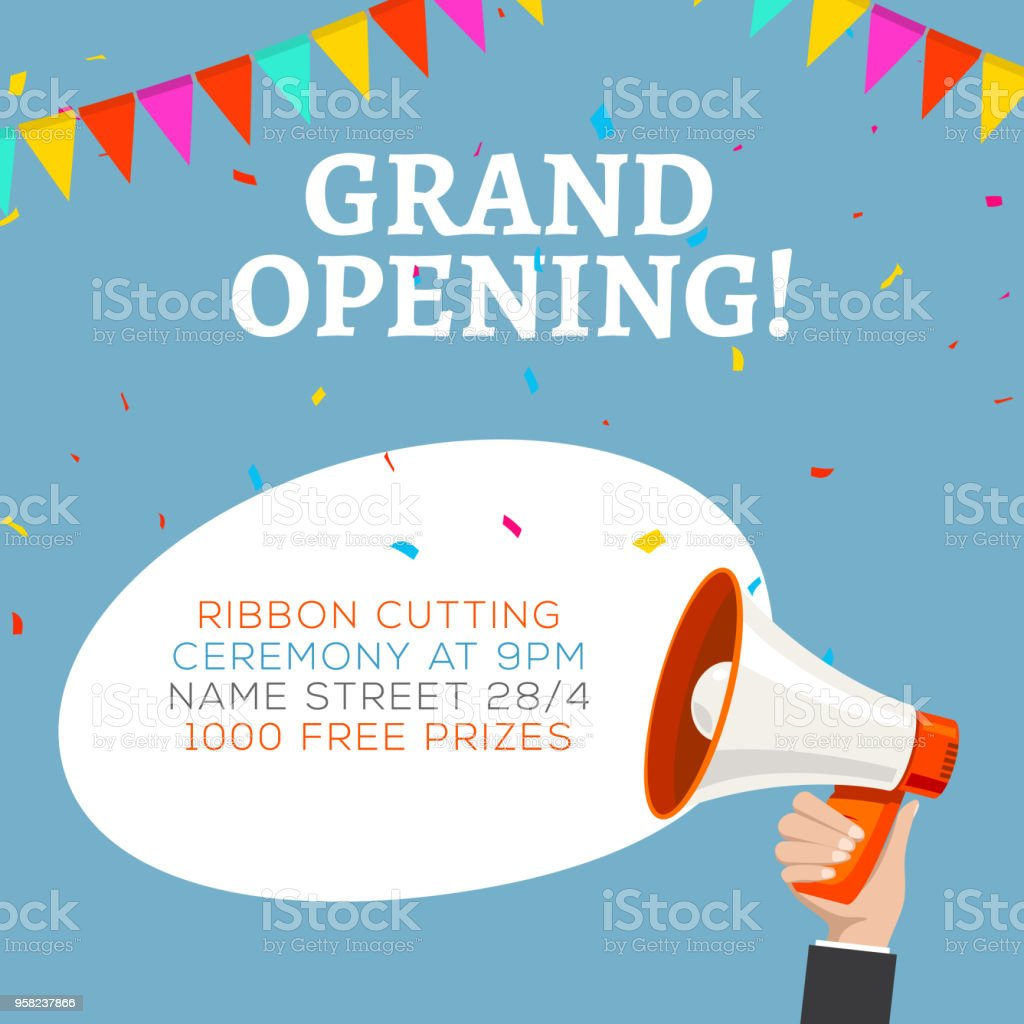 Grand Opening Flyer Banner Template Marketing Business Concept With