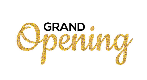 Grand Opening Gold calligraphic lettering design text. Vector handwritten isolated grand opening type vector art illustration