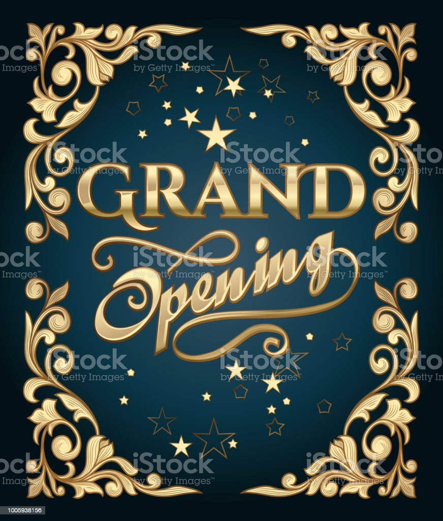 Grand opening golden advertising sign vector art illustration