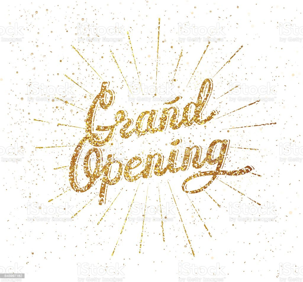 Grand opening golden script vector art illustration