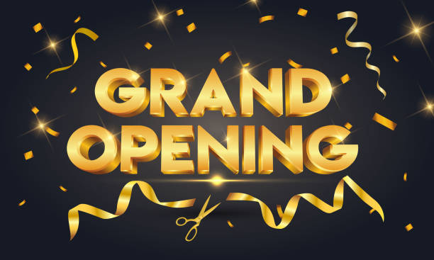 Grand opening golden text with gold scissors cutting gold ribbon on black sparkling background Vector illustration for promotion discount sale advertising party conference stock illustrations
