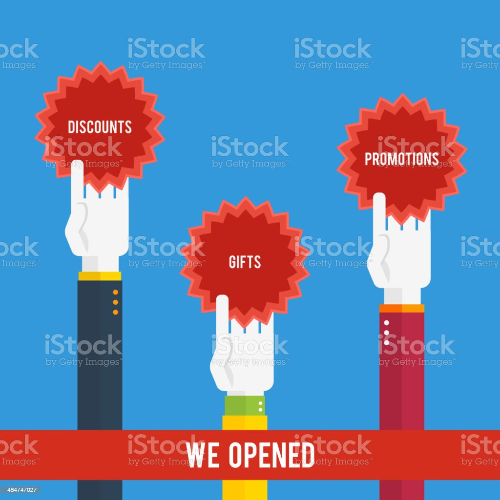 Grand opening - hands holding stickers royalty-free grand opening hands holding stickers stock vector art & more images of accessibility