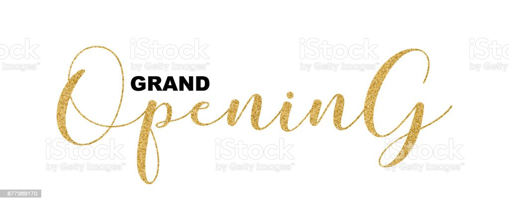 Grand Opening handwritten script, text isolated on white background, vector illustration. Gold calligraphic lettering font, glitter design elements for web banners, cards, invitations. vector art illustration