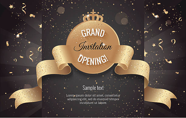 Grand opening horizontal banner. Text with confetti and curving vector art illustration