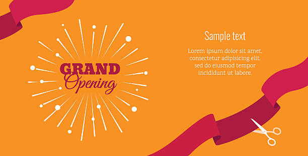 Grand opening horizontal banner vector art illustration