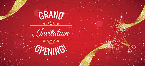 Grand opening horizontal banner with gold sparkles. vector art illustration