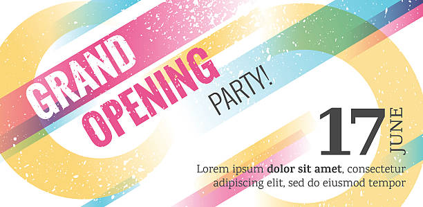 Grand opening horizontall banner. vector art illustration
