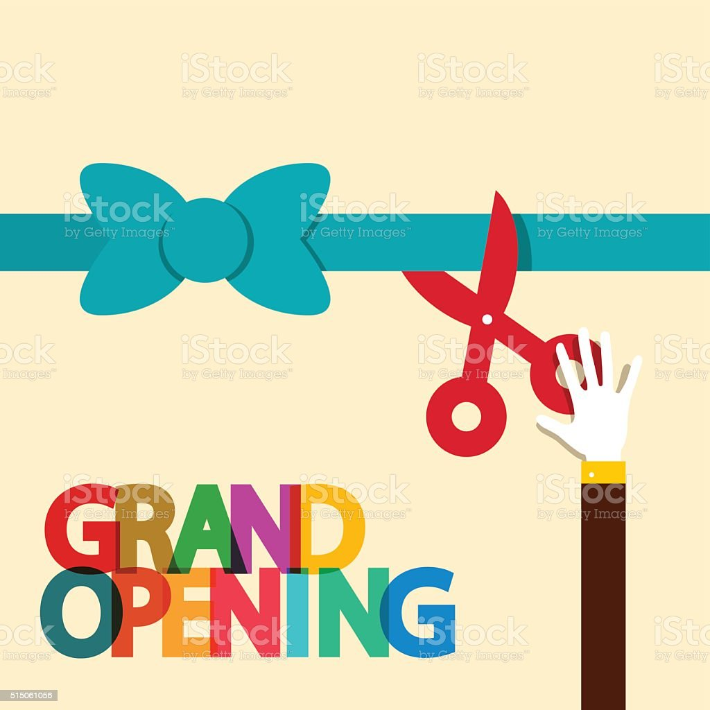Grand Opening Illustration with Ribbon and Scissors vector art illustration