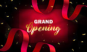 Grand opening invitation banner with levitating gold ribbons and frame. Vector illustration stock illustration
