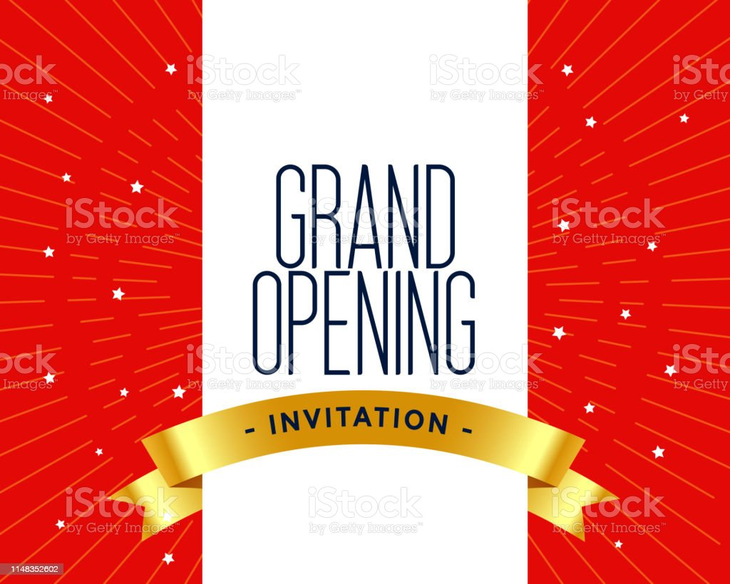 Grand Opening Invitation Card Template Stock Illustration