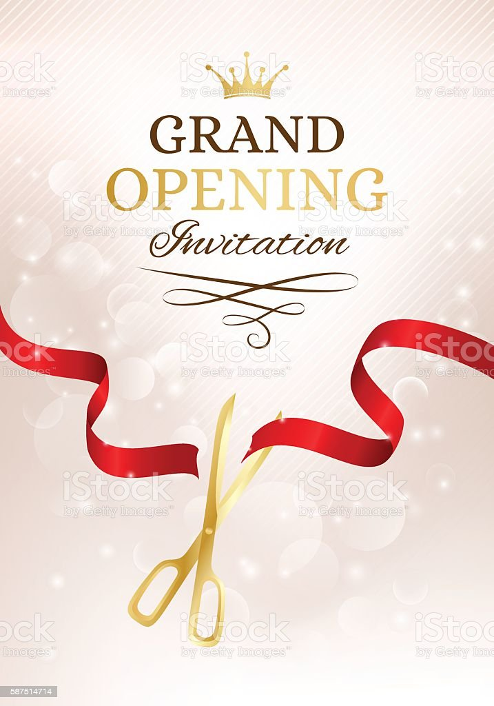 Grand opening invitation card with cut red ribbon and gold stock grand opening invitation card with cut red ribbon and gold royalty free grand opening invitation stopboris Image collections
