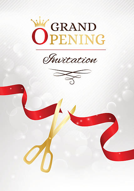 Royalty free inauguration clip art vector images illustrations grand opening invitation card with cut red ribbon and gold vector art illustration stopboris Gallery
