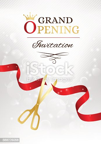 Grand Opening Invitation Card With Cut Red Ribbon And Gold ...