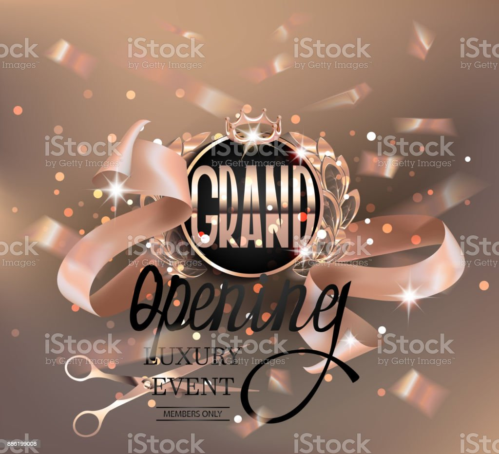 Grand Opening Invitation Card With Gold Design Elements And