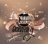 Grand opening  invitation card with gold design elements and beige ribbons and flying confetti. Vector illustration