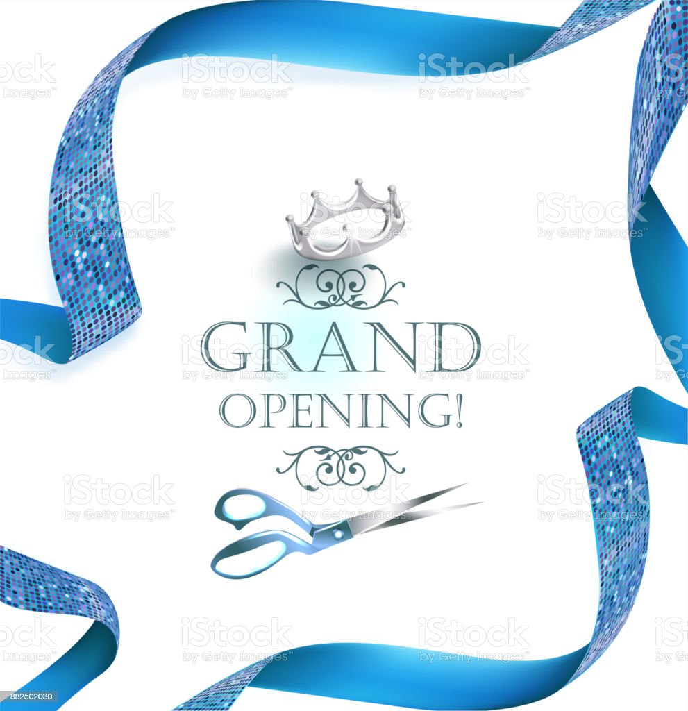 Grand Opening Invitation Card With Scissors And Blue Curly