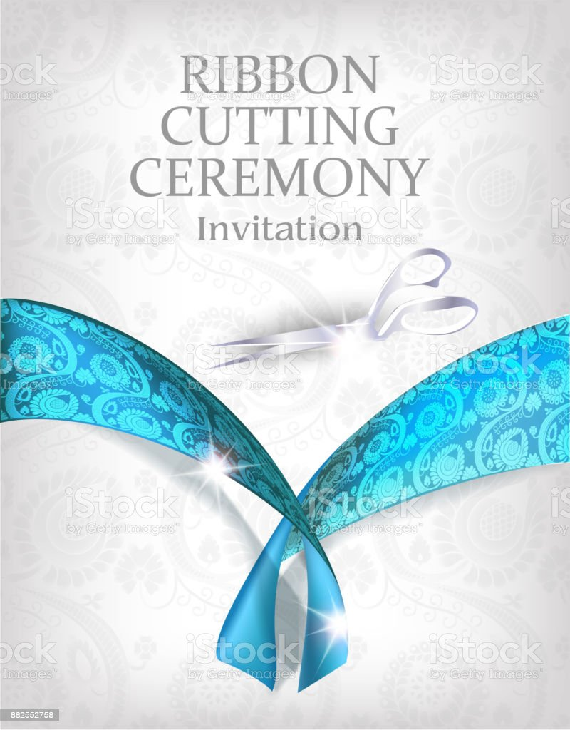 Grand opening invitation card with silver scissors and blue ribbon grand opening invitation card with silver scissors and blue ribbon vector illustration royalty free stopboris Images