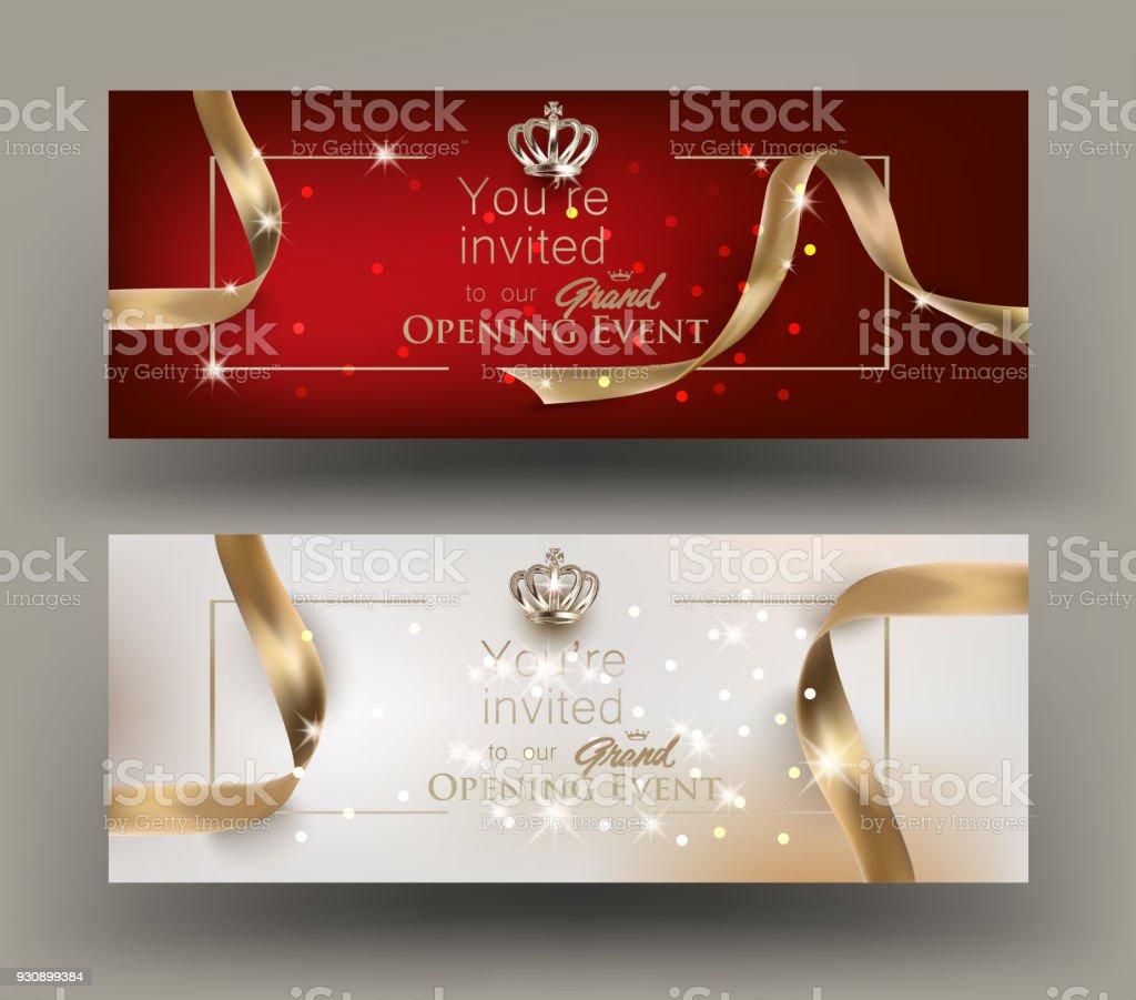 Grande ouverture des cartes d'invitation avec cadre or et rubans. Illustration vectorielle - Illustration vectorielle