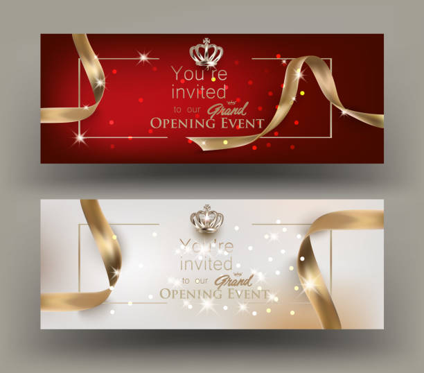 Grand opening invitation cards with gold frame and ribbons. Vector illustration vector art illustration