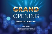 Grand opening invitation concept. Celebration design. Gold glitter letters on abstract background with light effect. Applicable for banner, flyer, presentation and poster design. Vector eps 10.