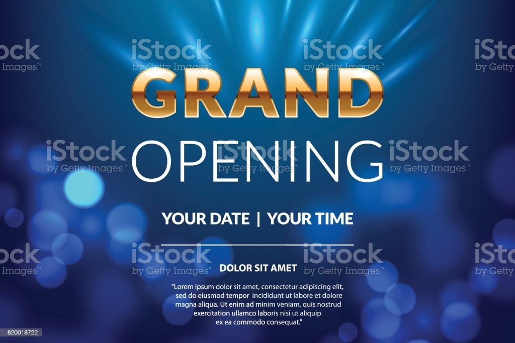 Grand opening invitation concept. Celebration design. Gold glitter letters on abstract background with light effect. Applicable for banner, flyer, presentation and poster design. vector art illustration