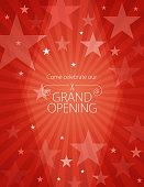 Vector of grand opening design template with scissors on red color star pattern background. EPS AI 10 file format.