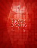 Vector of grand opening design template with scissors on red color pixel pattern background. EPS AI 10 file format.