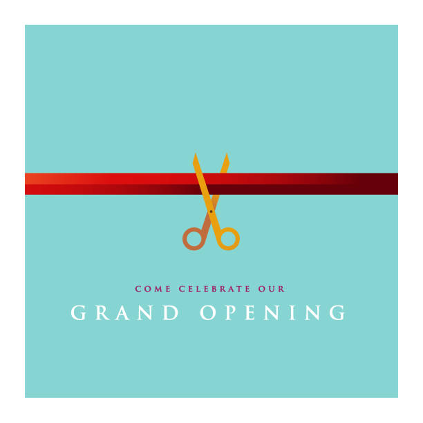 stockillustraties, clipart, cartoons en iconen met grand opening uitnodiging ontwerp - ceremonie