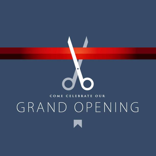 ilustrações, clipart, desenhos animados e ícones de projeto grande do convite da abertura - inauguração