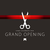 Vector of grand opening design template with gold colored scissors and ribbon on color background. EPS ai 10 file format.