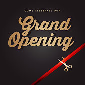 Vector of grand opening design template with gold colored scissors and ribbon on dark color background. EPS ai 10 file format.