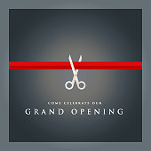 Vector of grand opening design template with silver colored scissors and red ribbon on dark color background. EPS ai 10 file format.