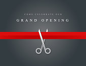 Vector of grand opening design template with scissors on gray color background. EPS ai 10 file format.