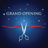 Vector of grand opening design template with ribbon and scissors on blue color background. EPS ai 10 file format.