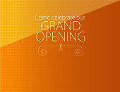 Vector of grand opening design template with ribbon and scissors on orange color background. EPS ai 10 file format.