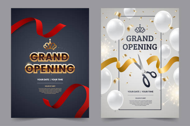 Grand opening invitation flyer with red and gold cut ribbons and scissors. Golden text on luxury background. Falling confetti with white balloons. Opening invitation design. Vector eps 10. Grand opening invitation flyer with red and gold cut ribbons and scissors. Golden text on luxury background. Falling confetti with white balloons. Opening invitation design. Vector eps 10. opening stock illustrations