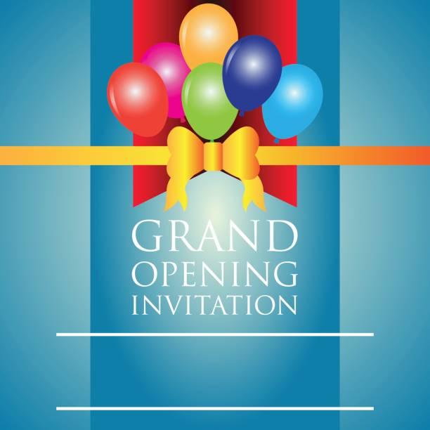 ilustraciones, imágenes clip art, dibujos animados e iconos de stock de gran apertura cartel de invitación. ilustración de vector - gran inauguración