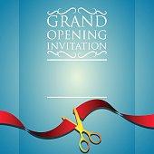 grand opening invitation poster. vector illustration