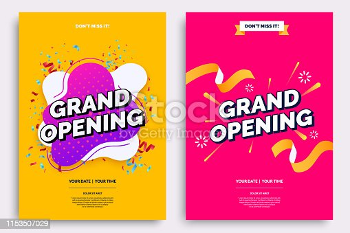 istock Grand opening invitationt template. Colorful creativity design with bold text, bright background and a burst of confetti. Ribbon cutting ceremony. Vector illustration. 1153507029