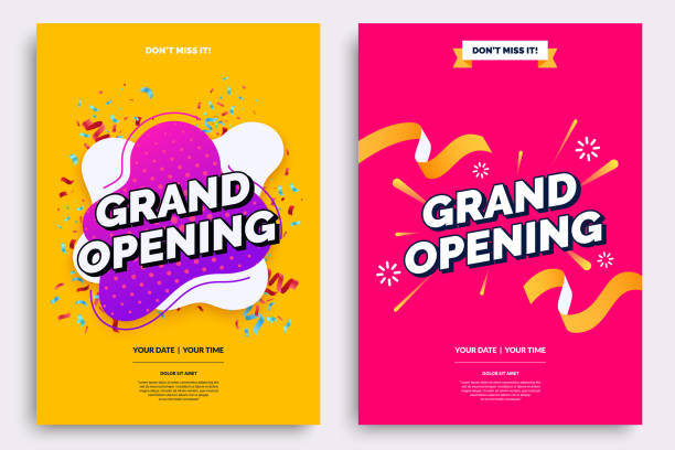 grand opening invitationt template. colorful creativity design with bold text, bright background and a burst of confetti. ribbon cutting ceremony. vector illustration. - poster stock illustrations