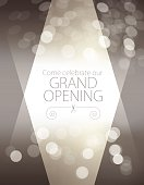 Vector of Grand Opening Invitation design with grey defocus background.