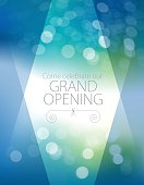 Vector of Grand Opening Invitation design with blue and green defocus background.